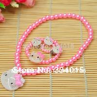 10pcd/lot Hello kitty New Kids/Baby Girls Gift Pink Fashion Beautiful African Beads Jewelry Set XL015
