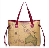 new arrival  geometry map middle bags women's travelling shoulder bags wine red genuine leather handbags