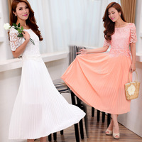 Pleated chiffon one-piece dress lace full dress fairy skirt