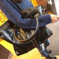 2013 fashion vintage big black  women's handbag rivet fashionable casual shoulder bag messenger bags