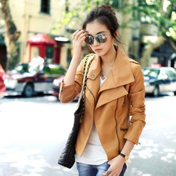 Free Shipping PU Leather Women Lady Girl Short Jacket  Double Neck Zipper Slanting Ladies' Motocycle Coat  WP1441