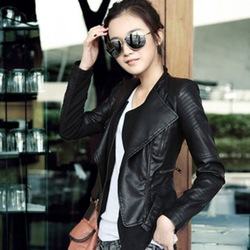 Free Shipping Women Leather Jacket PU Lady Short Coat Short Jacket Ladies&#39; Motocycle Coat WP1443(China (Mainland))