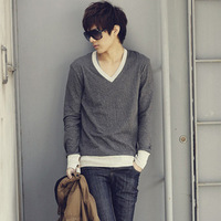 Free shipping for men of 2013 autumn winters is recreational han edition wool knitting v-neck t-shirts