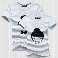 New Style High Quality  Cotton Happy Smile Couple T-shirt 2pcs/Lot  T-Shirt Women/Men/Lover/Couple