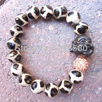 H-BB51 Dzi  Agate  Laughing Buddha Stretch Bracelet