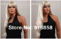 Free shipping Fashion Women's white wig long curly full lace wigs human full lace wig women wigs factory price #427