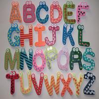 Free shipping wood fridge magnet 26pcs/pack 4*6cm Children Sketchpad magnets Creative, cartoon cute stationery set