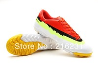 2013 Fee ship new style soccer shoes indoor grass nail soccer boots football cleats boots IX CR TF White/Volt/Crimson size 39-45