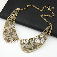 Retro Hollow Out Metal Flower Engraving Choker Bib False Collar Chain Necklace LKX0141C  Free Shipping