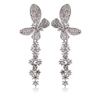 Wholesale White Gold Plated Crystal Butterfly Earrings,Fashion Austrian Crystal Rhinestone Earrings, Fashion Jewelry MG438