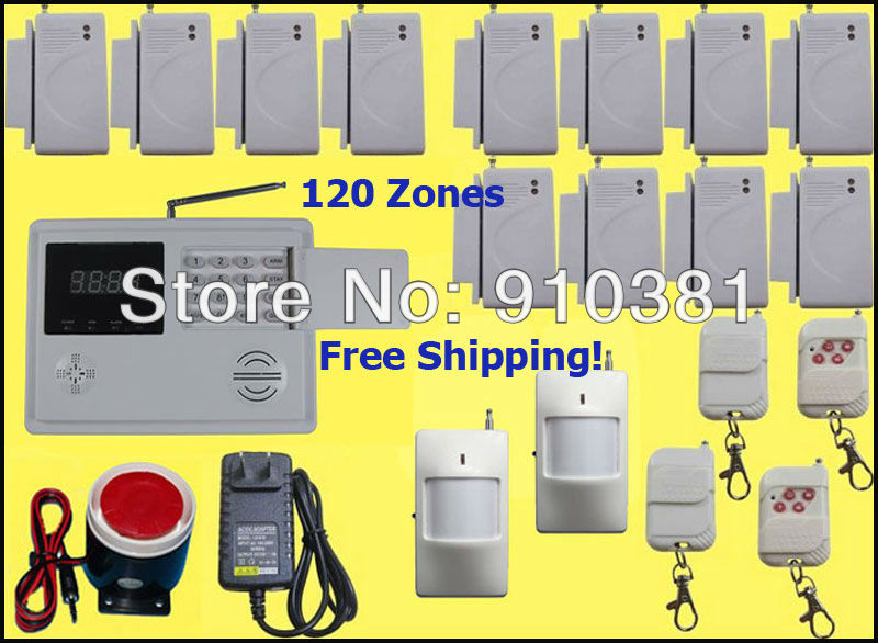 Free Shipping! Wireless 120zones PSTN Home Security Burglar motion alarm System items wireless pir selfe defense 12 door sensors(China (Mainland))