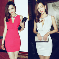 Sexy Womens Sleeveless Low-cut Keyhole Backless Double V Neck Slim Party Cocktail Dress Hip-wrapped  # L034839