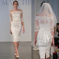 New Arrival !Glamorous 2014 Sheath Bateau Half Sleeve Sashes Lace Knee-Length Wedding Dress Designer Bridal Gowns Free Shipping