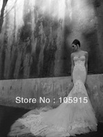 2013 Dreamlike White Lace Long Court Train Tiered Mermaid Wedding Dresses Luxury Bridal Gowns Organza HK-12