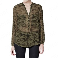 2013 News Camouflage Printed Big Long Sleeve Shirt Pocket Translucent Perspective E1217
