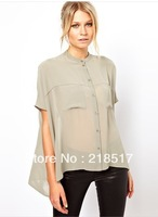 Free Shipping Summer double pocket short sleeve chiffon shirt irregular dovetail wide smock stand collar for woman girl D-557
