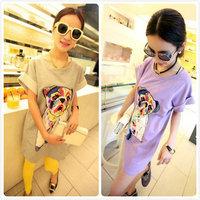 FREE SHIPPING! Tobago pug print one-piece dress lilac grey long design t-shirt starlin9 lapdog tee