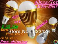 Free shipping 40pcs Dimmable Bubble Ball Bulb 9W 12W 15W E14 E27 B22 GU10 High power Globe light LED Light Bulbs Lamp Lighting