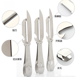 Free Shipping Outdoor stainless steel multifunctional outdoor one piece knife shavians fruit fish knife clip wool(China (Mainland))