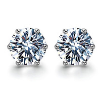 Hearts and arrows cubic zircon stud earring pure silver stud earring 925 pure silver women's stud earring male 113