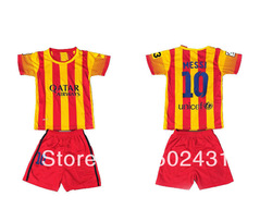 2013-2014 series,spain Barca club away #10 messi kids soccer uniforms shirt,children football suit jersey,1 set Drop shipping(China (Mainland))