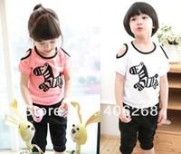 wholesale best quality cute horse children clothing set summer shoulder leakage children's  set  2013 new free shipping