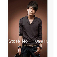 free shipping new Korea Mens Stand Collar V-neck Long Sleeve Cotton Slim Fit casual T-shirts Tops Blouse JX0027H