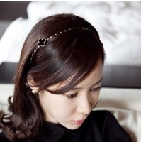 Fashion Korea New Designer Gold Metal Black Four Leaf Clover Hairbands For Women 2pcs/Lot Z-B8014 Free shipping
