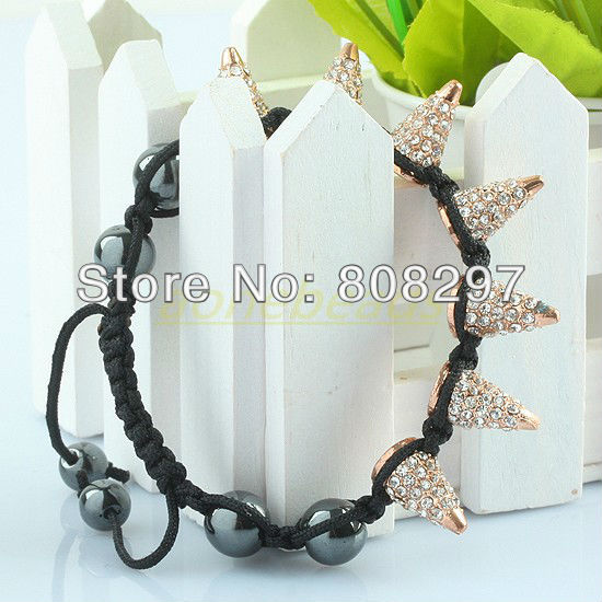 10pcs Plated Gold / Clear Crystal Rhinestone / Black Cord / Sideways / Adjustable / PUNK Spikes / Macrame Bracelet(China (Mainland))