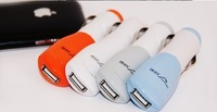 Free Shipping New 1piece/Lot mini USB car charger color adapter for iPhone4 4S iPad 2 mobile phone