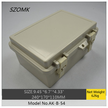 "1 piece ip65 hinged waterproof plastic enclosure/box for electronic  AK-B-54 240x170x110mm  9.45""x6.7""x4.33"""