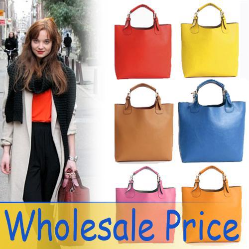 4 pcs / Lot New Vintage Celebrity Women Handbag PU Leather Tote Shoulder Shopper Bag Mult 7 Colors Super Star Fashion(China (Mainland))