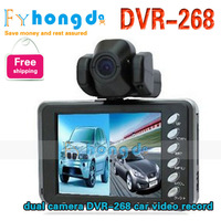 In stock free shipping Cheap dual camera DVR-268 car video recorde