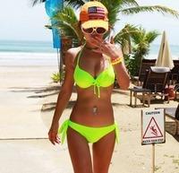 2015 Sexy dazzling neon color small steel push up swimwear mimi big bikini hot spring swimsuit