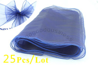 Free shipping 25pcs/lot navy blue 18*275cm Home/Wedding /Patry /Banquet Decor Organza Chair Bow Cover Sashes Decoration Gauze