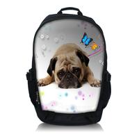 """Free Shipping Pug Laptop Netbook Backpack Bag 15.6"""" Double Shoulder School BookBag"""