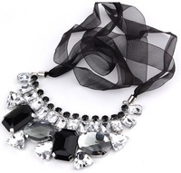 Hotsale Collar Necklace,Fashion Chokers with Hi-Q acrylic and ribbon, mix black and clear gemstones  free shipping