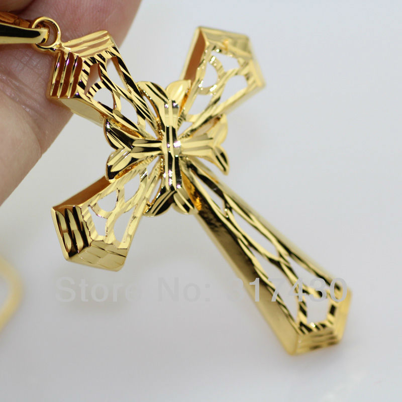 Free shipping 18K GOLD FILLED NECKLACE JESUS CHRIST CRUCIFIX FILIGREE CROSS PENDANT MEN WOMENS MENs or WOMENS size 50mm*36mm(China (Mainland))