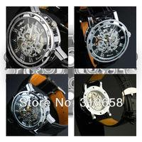 2013 Mens Black Skeleton Hand Wind Mechanical Watch Wrist Watch Black Leather Strap Wholesale Price A522