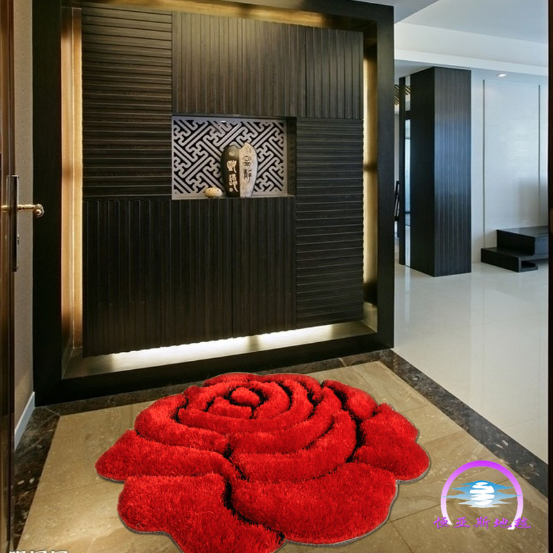 3d three-dimensional rose carpet wire 90 entranceway carpet fashion swivel chair blanket(China (Mainland))
