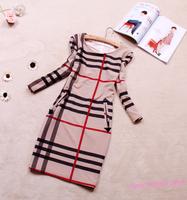 2014 New Design BRIEF STYLE Stripe Three Quarter Sleeve Dress, Cotton OL Formal Elegant Women Spring Autumn Plus Size Dresses