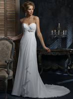 Free Shipping Custom-made White Beaded Draped Front Short and Long Back Organza Wedding Dress