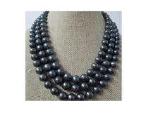 48''TAHITIAN AAA + 9-10MM GENUINE BLACK PEARL NECKLACE 14K