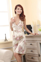 2013 new fashion Sexy beige with flower pajamas thin emulation silk  nightgown Deep V-neck bed skirt  Free shipping