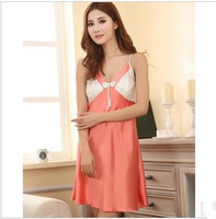 2013 new fashion Sexy pajamas emulation silk round dot nightgown Deep V-neck bed skirt  Free shipping