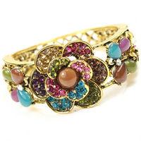 2013 Hot Sales Retro Fashion Womens Rose Style Titanium Steel Handchain Rhinestone Bracelet Bangles