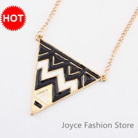 Min Order $10,Statement Necklace 2013,Fashion Designer Jewelry,Vintage Punk White and Black Wave Triangle Pendant Necklace,N36
