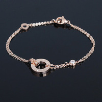 European and American style of foreign trade single-screw ring double diamond rose gold bracelet titanium steel jewelry female K