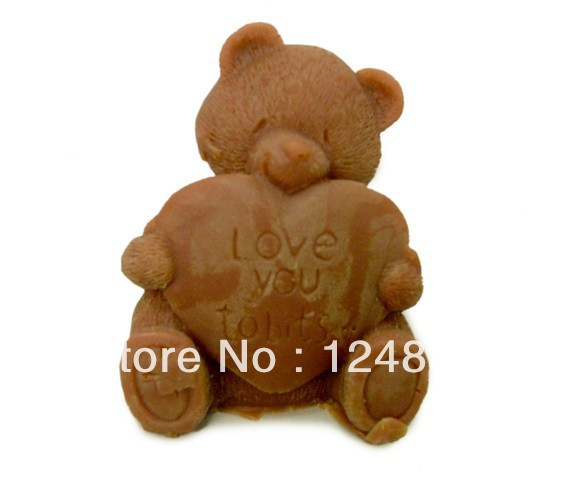 100% Food Grade 3D Silicone soap mould bear chocolate food cake cupcake fondant molds baking party favors for kids Free shipping(China (Mainland))
