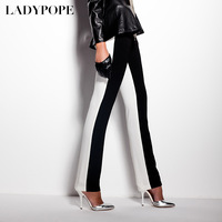 Ladypope2013 spring fashion casual pants black and white patchwork skinny pants pencil pants female 21e065